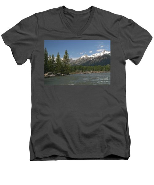 Men's V-Neck T-Shirt featuring the photograph My Favorite Of The Grand Tetons by Living Color Photography Lorraine Lynch
