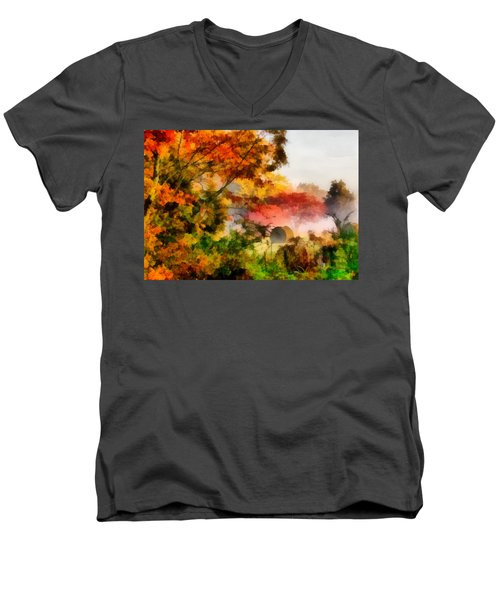 Men's V-Neck T-Shirt featuring the painting My Front Yard by Lynne Jenkins