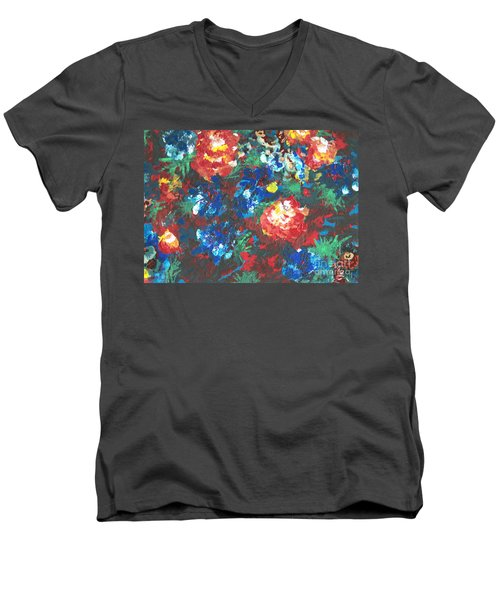 Men's V-Neck T-Shirt featuring the painting My Sister's Garden II by Alys Caviness-Gober