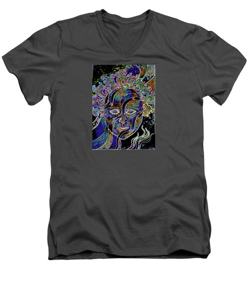 Men's V-Neck T-Shirt featuring the drawing Mythic Mask by Nareeta Martin