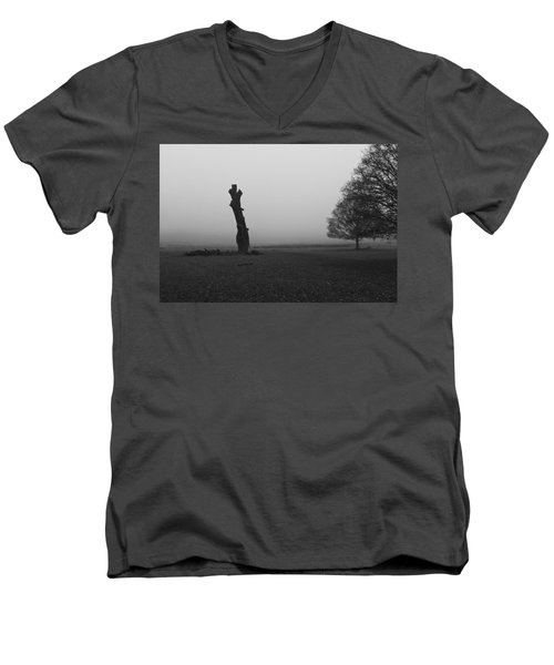 Men's V-Neck T-Shirt featuring the photograph Naked Tree by Maj Seda