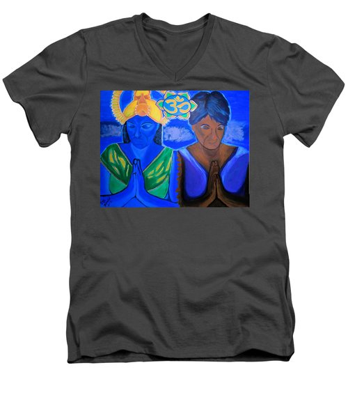 Men's V-Neck T-Shirt featuring the painting Namaste-we Are One by Lisa Brandel