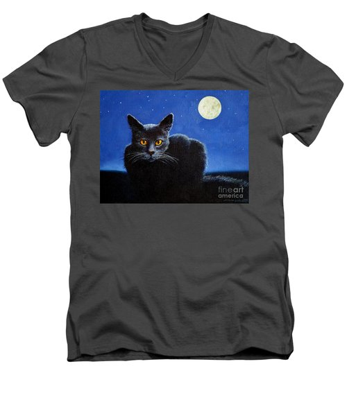 Men's V-Neck T-Shirt featuring the painting Name Of The Cat Nightmare by Christopher Shellhammer