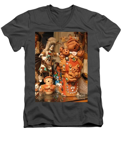 Men's V-Neck T-Shirt featuring the photograph Native  American Folk Art by Dora Sofia Caputo Photographic Art and Design