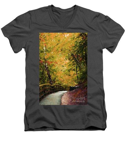 Men's V-Neck T-Shirt featuring the photograph Nature In Oil  by Deniece Platt