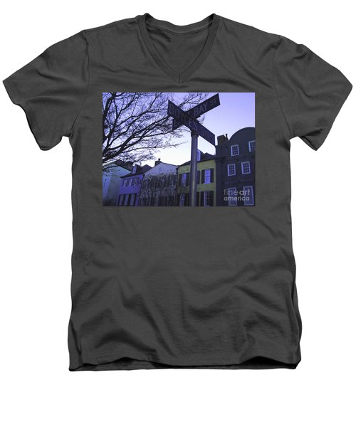 Men's V-Neck T-Shirt featuring the photograph Night In Savannah by Andrea Anderegg
