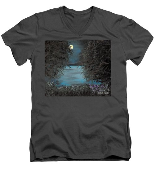 Men's V-Neck T-Shirt featuring the painting Night In The Bayou by Alys Caviness-Gober