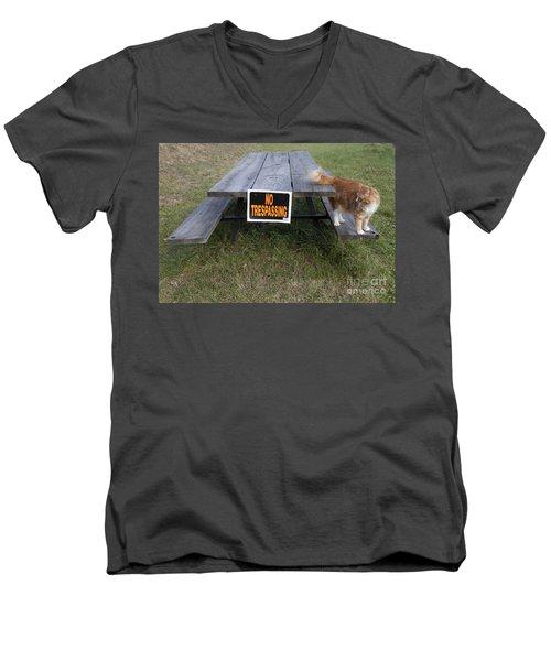 No Trespassing Men's V-Neck T-Shirt by Jeannette Hunt