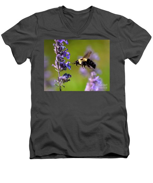 Non Stop Flight To Pollination Men's V-Neck T-Shirt by Sue Stefanowicz