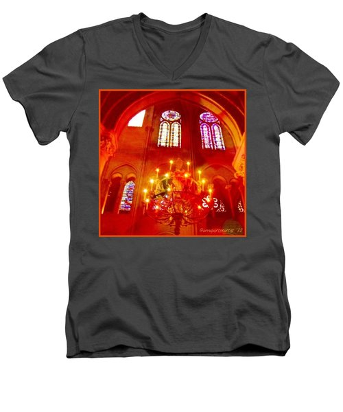 Notre Dame Cathedral - Paris France Men's V-Neck T-Shirt by Anna Porter