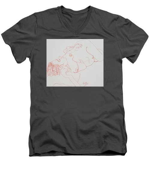 Nude Resting In Red Men's V-Neck T-Shirt by Rand Swift