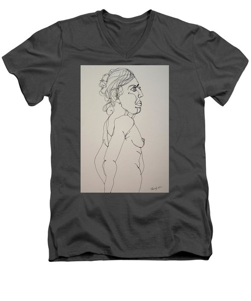 Nude Girl In Contour Men's V-Neck T-Shirt by Rand Swift