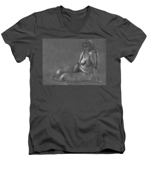 Nude Of A Real Woman In Black Men's V-Neck T-Shirt by Rachel Hershkovitz