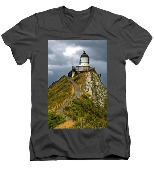 Nugget Point Light House And Dark Clouds In The Sky Men's V-Neck T-Shirt