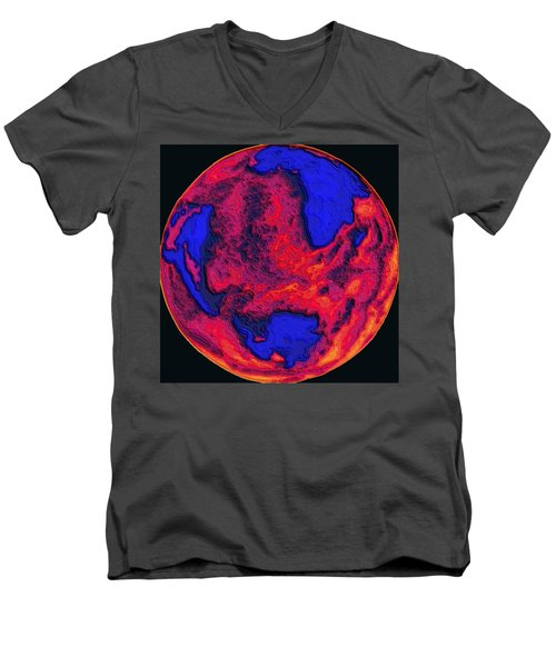 Men's V-Neck T-Shirt featuring the digital art Oceans Of Fire by Alec Drake