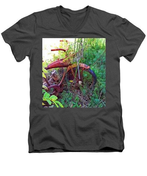 Old Bike And Weeds Men's V-Neck T-Shirt