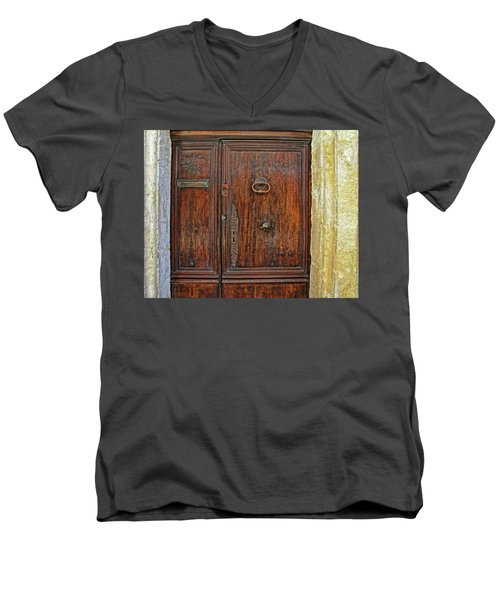 Men's V-Neck T-Shirt featuring the photograph Old Door Study Provence France by Dave Mills