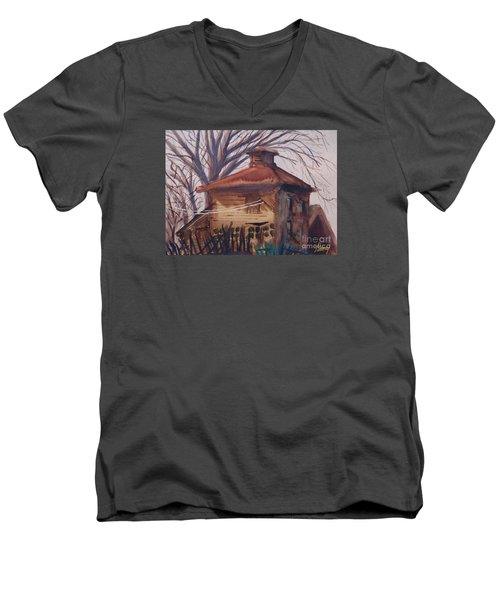 Men's V-Neck T-Shirt featuring the painting Old Garage by Rod Ismay