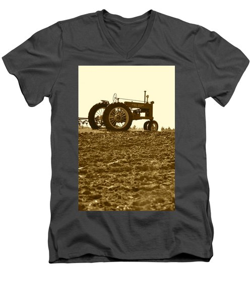 Old Tractor I In Sepia Men's V-Neck T-Shirt