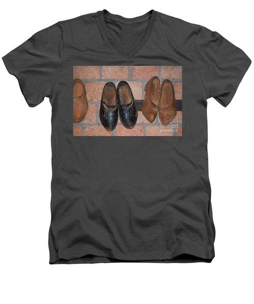 Old Wooden Shoes Men's V-Neck T-Shirt by Carol Ailles