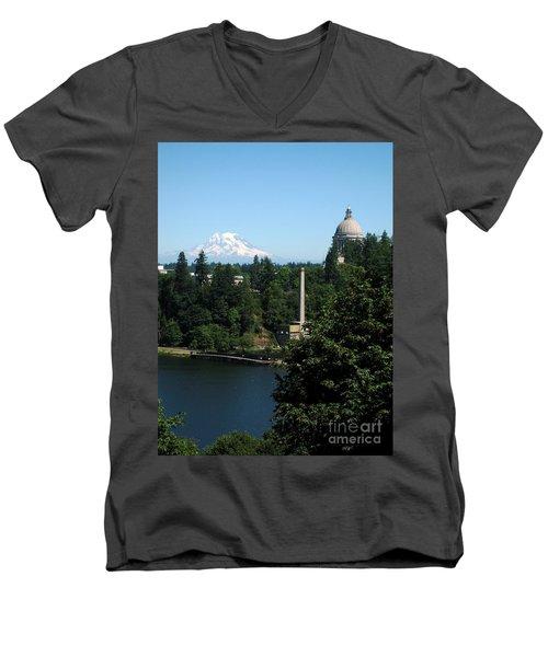 Olympia Wa Capitol And Mt Rainier Men's V-Neck T-Shirt