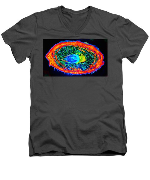 Men's V-Neck T-Shirt featuring the painting ONE by Lisa Brandel