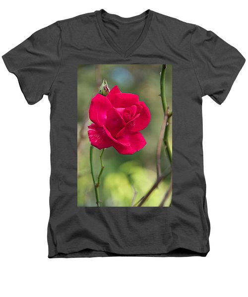 Men's V-Neck T-Shirt featuring the photograph One Rose by Joseph Yarbrough