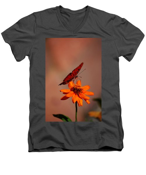 Orange Butterfly Orange Flower Men's V-Neck T-Shirt