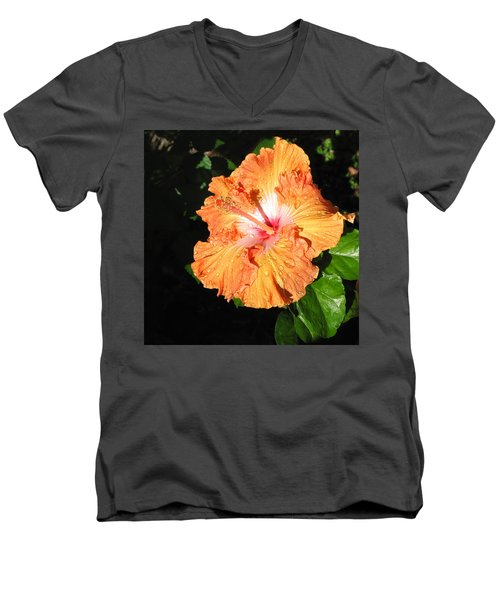 Orange Hibiscus After The Rain 1 Men's V-Neck T-Shirt by Connie Fox