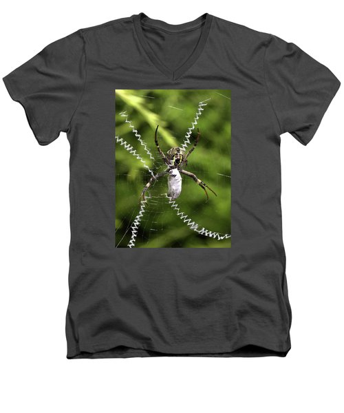 Men's V-Neck T-Shirt featuring the photograph Orb Weaver by Joy Watson
