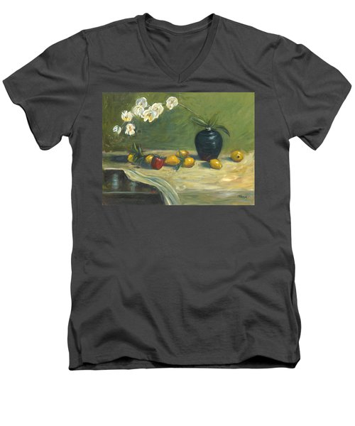 Men's V-Neck T-Shirt featuring the painting Orchids And Vase by Marlyn Boyd