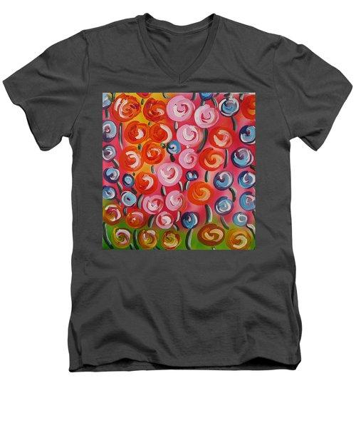 Original Modern Impasto Flowers Painting  Men's V-Neck T-Shirt by Gioia Albano