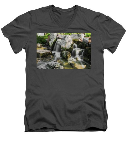 Osaka Garden Waterfall Men's V-Neck T-Shirt