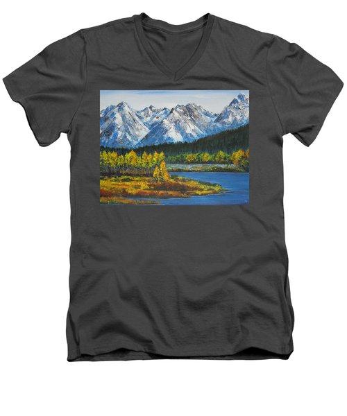 Oxbow-grand Tetons  Men's V-Neck T-Shirt