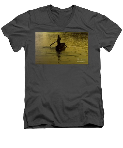 Men's V-Neck T-Shirt featuring the photograph Paddle Boy by Lydia Holly