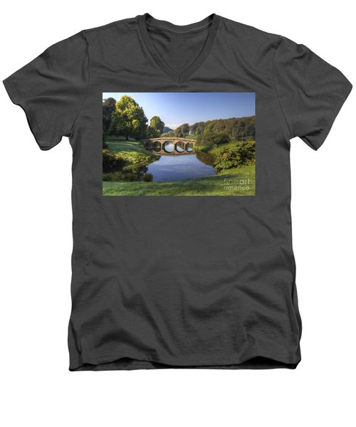 Palladian Bridge At Stourhead. Men's V-Neck T-Shirt