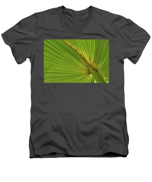 Men's V-Neck T-Shirt featuring the photograph Palm Leaf II by JD Grimes