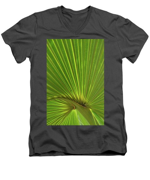 Men's V-Neck T-Shirt featuring the photograph Palm Leaf by JD Grimes