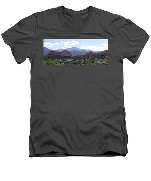Panoramic Garden Of The Gods Men's V-Neck T-Shirt