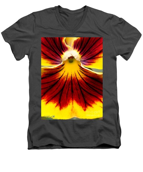 Men's V-Neck T-Shirt featuring the photograph Pansy Named Imperial Gold Princess by J McCombie