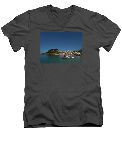 Parga  Men's V-Neck T-Shirt by Jouko Lehto