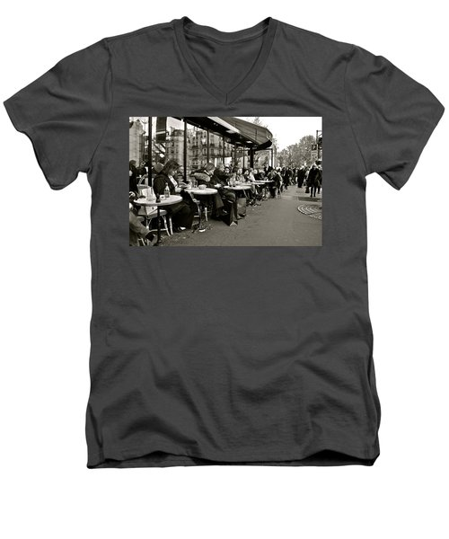 Men's V-Neck T-Shirt featuring the photograph Paris Cafe by Eric Tressler