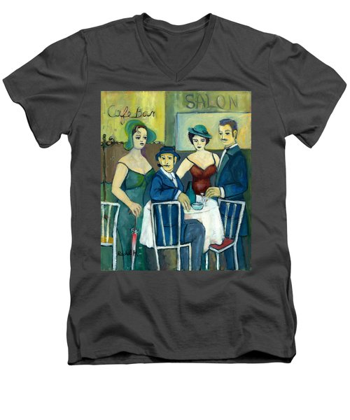 Parisian Cafe Scene In Blue Green And Brown Men's V-Neck T-Shirt