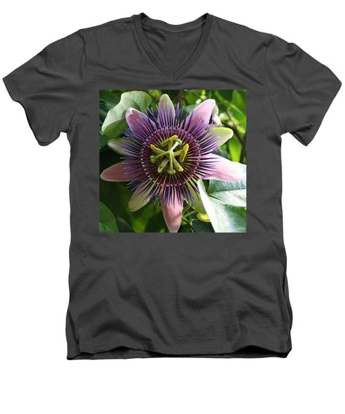 Men's V-Neck T-Shirt featuring the photograph Passion Flower 2 by Bruce Bley