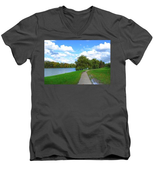 Men's V-Neck T-Shirt featuring the photograph Path by Michael Frank Jr