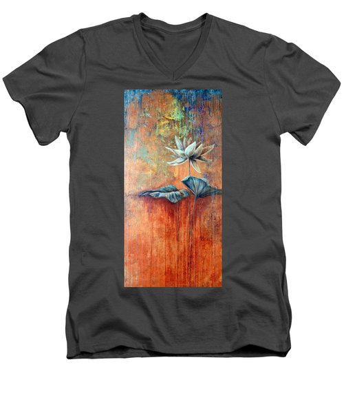 Patina Lotus Men's V-Neck T-Shirt