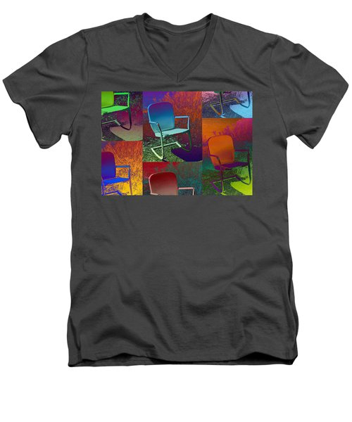 Men's V-Neck T-Shirt featuring the photograph Patio Chair by David Pantuso