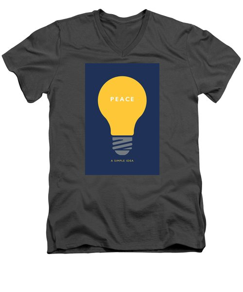 Peace A Simple Idea Men's V-Neck T-Shirt by David Klaboe