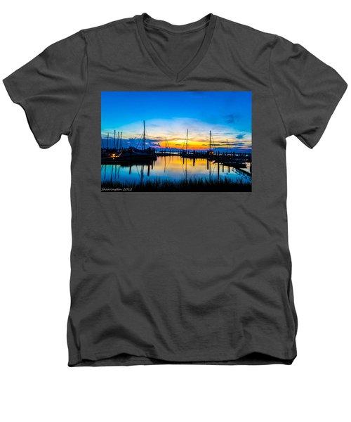Peacefull Sunset Men's V-Neck T-Shirt by Shannon Harrington