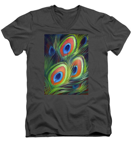 Men's V-Neck T-Shirt featuring the painting Peacock Feathers by Nancy Tilles